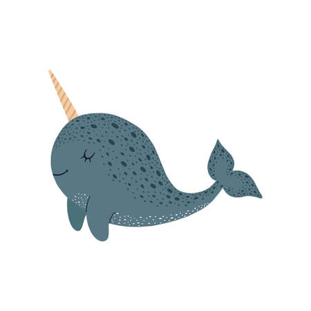 Cute vector illustration with narwhal baby for baby wear and invitation card. Illustration