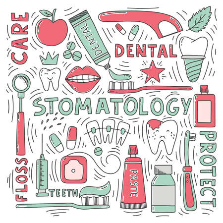 Stomatology doodle set with lettering Иллюстрация