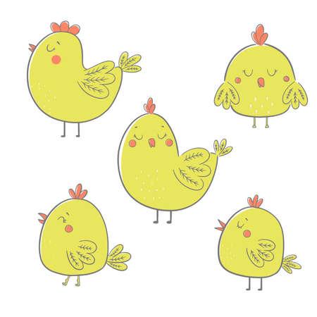 Collection cute cartoon chiken. Vector illustration. Stock Illustratie