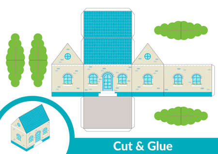 Cut and glue a house. Children art game for activity page. Paper 3d model. Vector illustration. Vectores