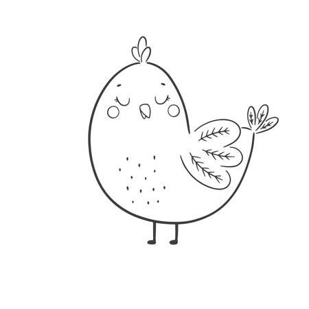 Cute cartoon chicken. Vector illustration.