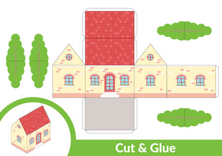 Cut and glue a house. Children art game for activity page. Paper 3d model. Vector illustration. Vettoriali