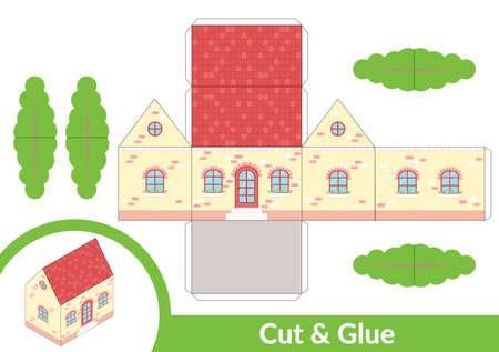 Schneiden und kleben Sie ein Haus. Kinderkunstspiel für die Aktivitätsseite. 3D-Modell aus Papier. Vektor-Illustration.