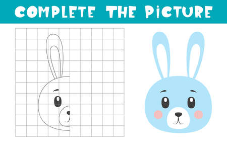 Complete the picture of a bunny. Copy the picture. Coloring book. Children art game for activity page