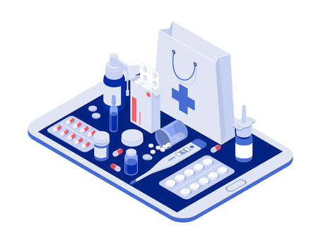 Healthcare, pharmacy and medical concept. Online tablet with pills, capsules blisters, glass bottles, plastic tubes. Isometric vector illustration.