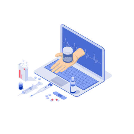 Healthcare, pharmacy and medical concept. Online notebook with pills, capsules blisters, glass bottles, plastic tubes. The doctors hand gives the tablets through the notebook screen. Illusztráció