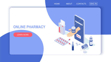 Online phone and pills, capsules blisters, glass bottles, plastic tubes. The concept of an online pharmacy. The doctors hand gives the tablets through the smartphone screen. Illusztráció