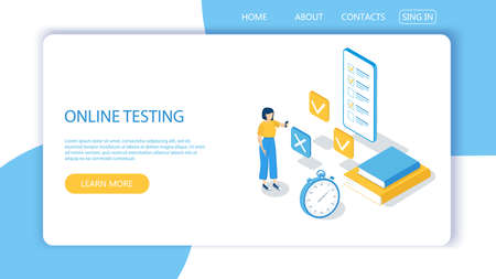 Landing page with design template for online testing. Concept of online exam, questionnaire form, online education, survey, internet quiz. Isometric vector illustration. Çizim