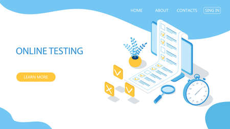 Landing page with design template for online testing. Concept of online exam, questionnaire form, online education, survey, internet quiz. Isometric vector illustration. Ilustração