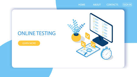 Landing page with design template for online testing. Concept of online exam, questionnaire form, online education, survey, internet quiz. Isometric vector illustration. Reklamní fotografie - 132949736