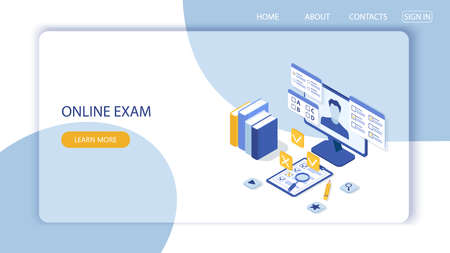 Landing page with design template for questionnaire form, online education survey. Online exam computer web app. Education, knowledge vector concept.