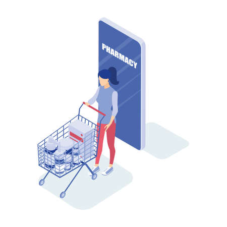 Ð¡oncept of an online pharmacy. Woman buys medicine. Isometric vector illustration.