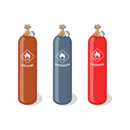Set of metal containers or cylinders with liquefied compressed natural gases. Gas tanks balloons of various color isolated on white background. Isometric vector illustration. Foto de archivo - 133311481