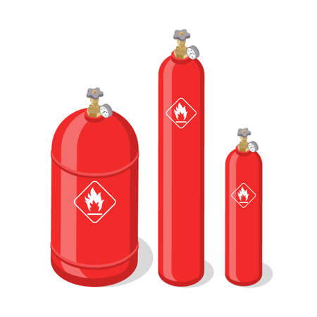 Set of metal containers or cylinders with liquefied compressed natural gases. Gas tanks balloons of various size isolated on white background. Isometric vector illustration. Çizim