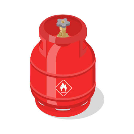 Flammable gas tank with liquefied compressed natural gases. Isometric vector illustration Çizim