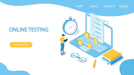 Landing page with design template for online testing. Concept of online exam, questionnaire form, online education, survey, internet quiz. Isometric vector illustration.