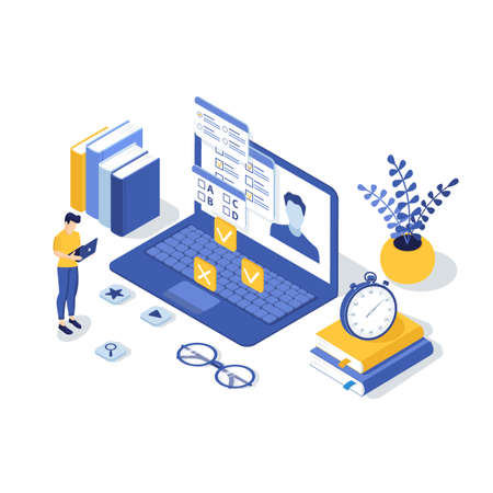 Concept of online exam, online testing, questionnaire form, online education, survey, internet quiz. Isometric vector illustration.