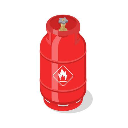Tanque de gas inflamable con gases naturales comprimidos licuados. Ilustración vectorial isométrica