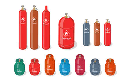 Set of metal containers or cylinders with liquefied compressed natural gases. Gas tanks balloons of various size and color isolated on white background. Isometric vector illustration.