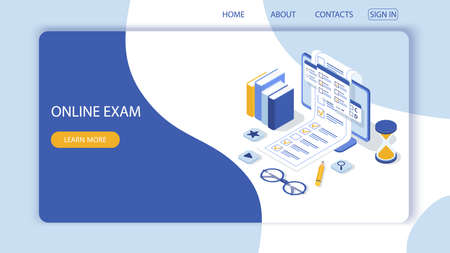 Landing page with design template for questionnaire form, online education survey. Online exam computer web app. Education, knowledge vector concept