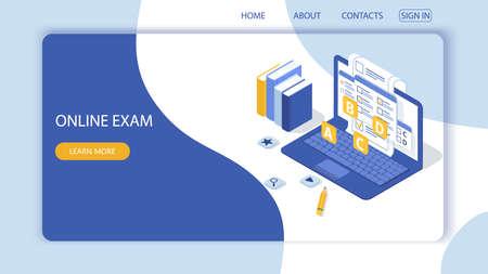 Strona docelowa z szablonem projektu formularza ankiety, ankieta edukacyjna online. Internetowa aplikacja komputerowa do egzaminów. Edukacja, koncepcja wektora wiedzy