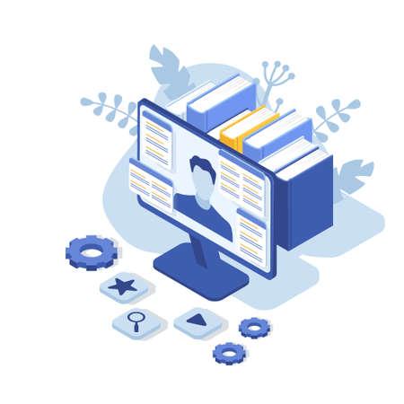 Concetto di assistenza clienti con monitor di computer e uomo. Contattaci. FAQ. Illustrazione vettoriale isometrica Vettoriali