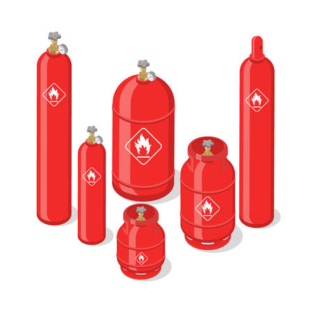 Set of metal containers or cylinders with liquefied compressed natural gases. Gas tanks balloons of various size isolated on white background. Isometric vector illustration. Foto de archivo - 134719738