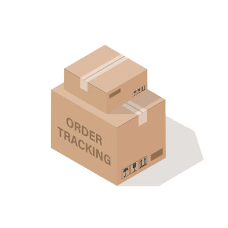Order tracking concept. 3d box isolated. Isometric vector illustration. Çizim