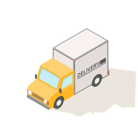 Flat 3d vector isometric illustration. Delivery truck.
