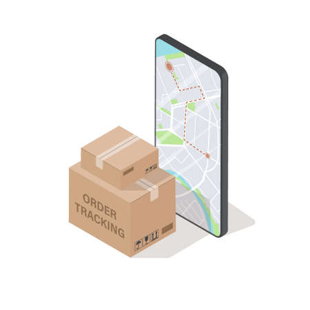 Order tracking concept. 3d box and mobile phone screen with map. Isolated isometric vector illustration.