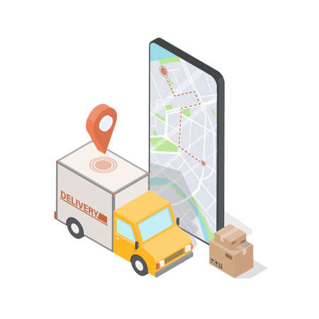 Order Delivery concept for commercial free fast shipping. Isometric truck and mobile phone screen with map. 3D vector illustration. Online tracking