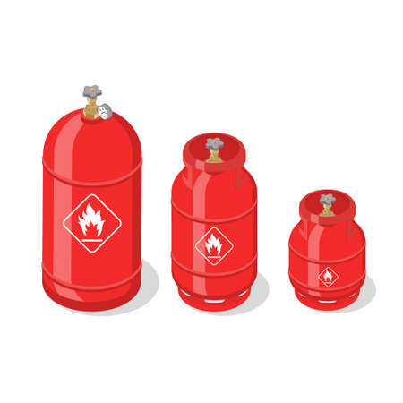 Set of metal containers or cylinders with liquefied compressed natural gases. Gas tanks balloons of various size isolated on white background. Isometric vector illustration. Ilustracja