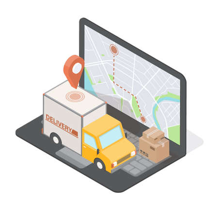 Order Delivery concept for commercial free fast shipping. Isometric truck and laptop screen with map. 3D vector illustration. Online tracking Çizim
