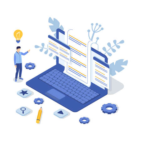 Customer support concept with laptop and man. Contact us. FAQ. Isometric Vector Illustration.