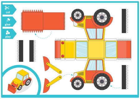 Cut and glue a paper car. Children art game for activity page. Paper 3d excavator. Vector illustration