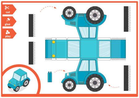 Schneiden und kleben Sie ein Papierauto. Kinderkunstspiel für die Aktivitätsseite. Papiertraktor 3d. Vektor-Illustration.