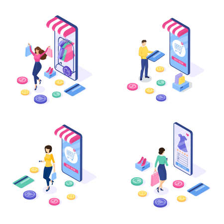 Set of Online shopping concept. Woman and man buy things on the site. Can use for web banner and infographics. Isometric design. Vector illustration. 일러스트