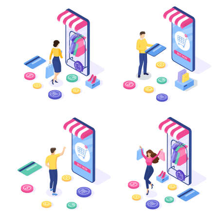 Set of Online shopping concept. Woman and man buy things on the site. Can use for web banner and infographics. Isometric design. Vector illustration. Illustration