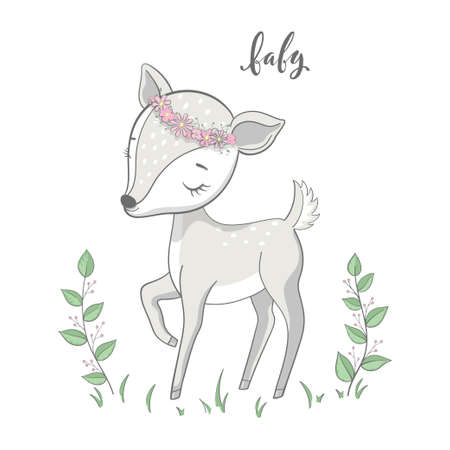 Cartoon young deer with branches on white background. Cute bambi animal vector 일러스트