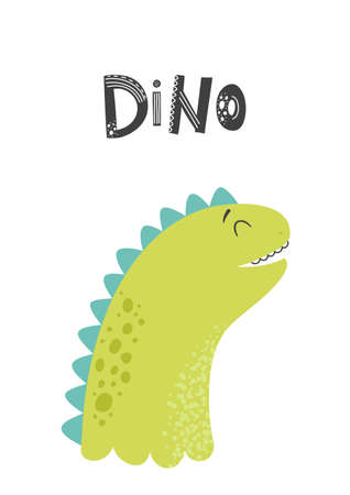 Baby print with Dino. Cute card, poster, template, greeting card, dinosaur. Scandinavian style Vector illustrations