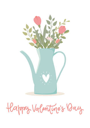 Valentine's day concept. Gift romantic postcards with bouquet of flowers in a teapot. Vector illustration on white background