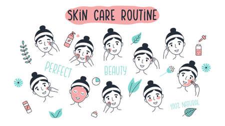 Mujer joven limpiando y cuidando su rostro. Cara de niña con procedimientos faciales diferentes. Ilustración de vector de estilo dibujado a mano aislado sobre fondo blanco.