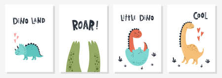 Baby print with Dino and phrase Dino land,Roar, Cool. Set of cute cards, poster, template, greeting cards, animals, dinosaurs. Scandinavian style. Vector illustrations.