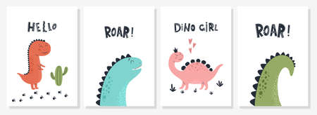 Baby print with Dino and phrase Dino Girl, Roar, Hello. Set of cute cards, poster, template, greeting cards, animals, dinosaurs. Scandinavian style. Vector illustrations.