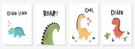 Baby print with Dino and phrase Dino land, Roar, Cool. Set of cute cards, poster, template, greeting cards, animals, dinosaurs. Scandinavian style. Vector illustrations.