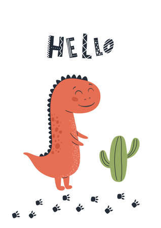 Baby print with Dino. Cute card, poster, template, greeting card, dinosaur. Scandinavian style. Vector illustrations