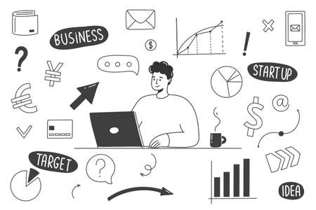 Hand Drawn Business Doodles with a man working at a computer. Vector illustration Illustration