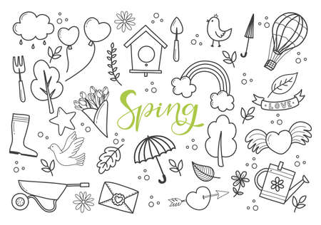 Hand Drawn Spring Doodles with set of Symbols of the Spring. Vector illustration