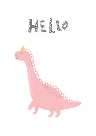 Baby print with Dino and phrase Hello. Cute card, poster, template, greeting card, dinosaur. Scandinavian style. Vector illustrations