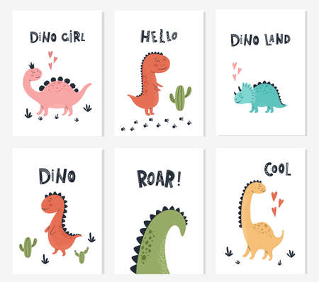Baby print with Dino and phrase Dino Girl, Roar, Hello. Set of cute cards, poster, template, greeting cards, animals, dinosaurs. Scandinavian style. Vector illustrations